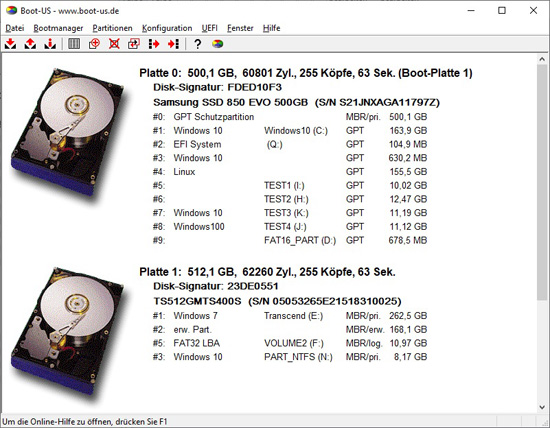 Programme de configuration Boot-US (interface graphique Windows)